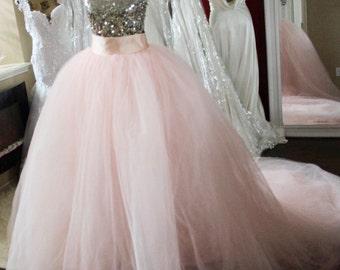 3ft Detachable Blush Pink ballgown skirt / bridal skirt / removable blush tulle skirt / romantic blush skirt / princess ballgown skirt /