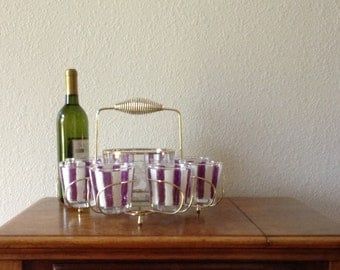 Vintage Drink Caddy, Low Ball Glasses with Caddy and Ice Bucket