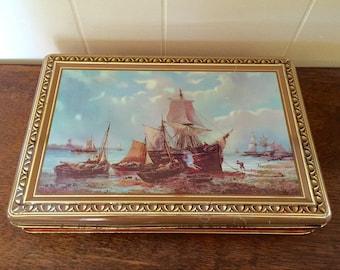 Côte D'Or Tin Box; Ship Tin; Candy Tin; Pirate Ship; Vintage Metal Box; Trinket Box; Nautical Decor; Sailing Ships