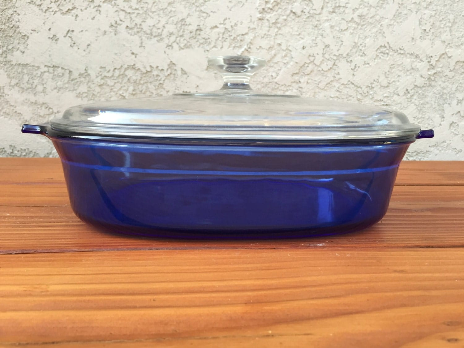 Purple Kitchen Canisters Cobalt Blue Pyrex Baking Casserole Oval Dish With Clear Lid