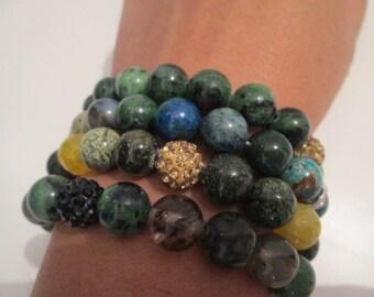 OFFER! Set 4 semi precious stone bracelets