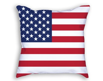 American Flag Throw Pillow, Red White & Blue Decorative Accent Pillow, American Flag Pillow, USA American Pride Pillow