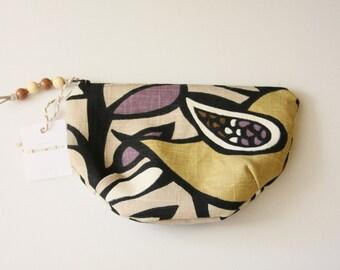 MAKEUP BAG---Kas Oslo Bird Amethyst/ Purple Zipper Cosmetic Pouch