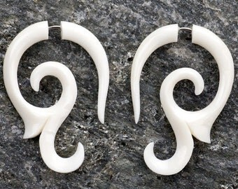 White Bone Curly Vine Tribal Organic Fake Gauges Earrings