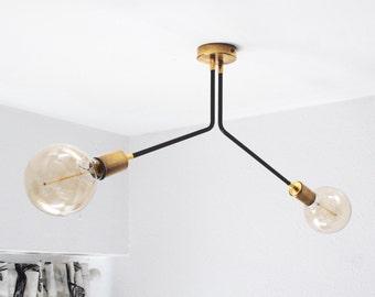 Modern Vintage Sputnik 2 Arm Ceiling Semi Flush Mount / Wall Sconce Light Fixture - Edison Bulb
