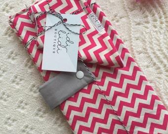 Pink Chevron Nappy Wallet & Bib Bundle