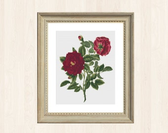 Red Rose Cross Stitch Pattern Flower Embroidery Pattern Instant Download