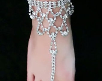 Diamond Anklet with Toe Ring