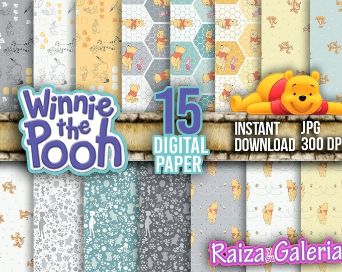 AWESOME Disney Winnie the Pooh Digital Paper. Instant Download - Scrapbooking - Winnie the Pooh Printable Paper Craft!