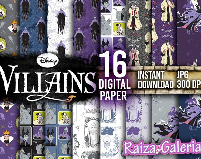 AWESOME DISNEY Villains Digital Paper. Instant Download - Scrapbooking - VILLAINS Printable Paper