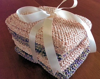 Hand-Knitted Washcloths - Set of 4
