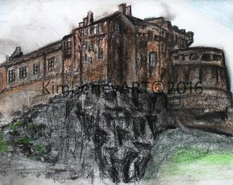 Edinburgh Castle Art Print, Edinburgh Castle Pastel Drawing, Scottish Castle Art, Architecture Drawing, Scotland Art Print, Wall Art Print