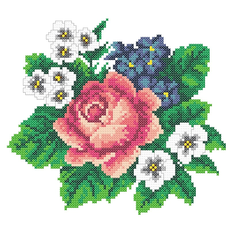 Machine embroidery roses cross stitch