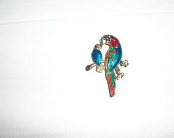 colourful bird brooch