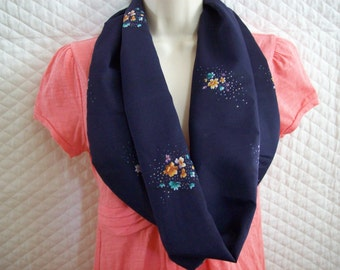infinity scarf Made with screened printed  silk Pongee fabric,Navy blue with floral print,