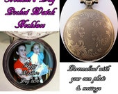 """CHRISTMAS Gift Pocket Watch Personalized Photo & Message Mom or Dad Custom Made w/31"""" Chain or 14"""" Belt Chain Gift 4 Mom or Dad Vtg Style"""