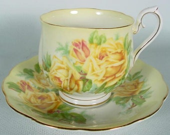 Royal Albert Tea Rose Cup and Saucer Unusual Shape & Background Color