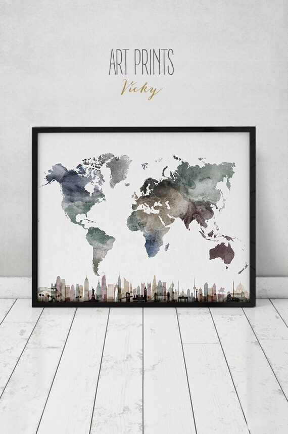 Travel Map with cities wall art Poster World map watercolor