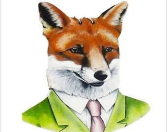Mr Fox Necklace, Wooden Pendant, kawaii