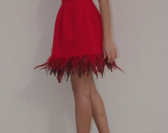 Tight elastic knitted red dress