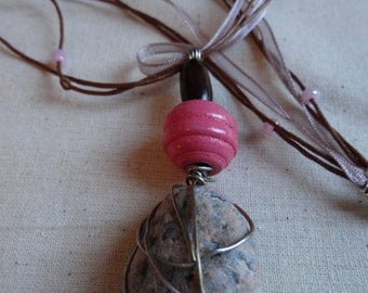 Wire wrapped beach stone necklace
