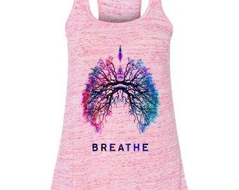 Breathe Pink Flowy Razor back yoga tank- (FREE SHIPPING!) Yoga Shirts, Breathe shirts, Yoga wear, Exercise clothing, exercise tank, For Her