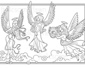christmas angel coloring page for children and adults choir of angels