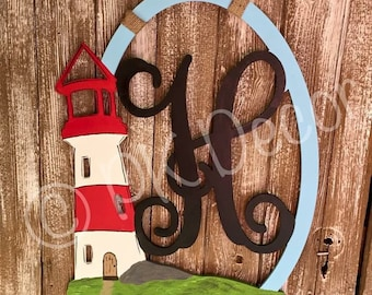 Lighthouse Monogram Initial Door Hanger