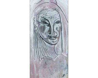 """Image communications 20/9.2 cm """"Ghost Lady"""" portrait painting drawing modern art abstract"""