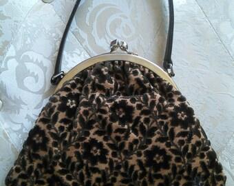 Tarok Bag Brocade Purse// Vintage Brown Brocade Evening Bag, Prom Bag, Wedding Bag
