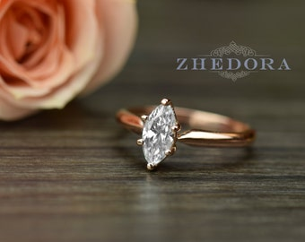 1.10 CT Marquise Solitaire Engagement Wedding Ring Solid 14k/18 Rose Gold Bridal , Marquise Engagement Ring, Marquise Bridal Ring