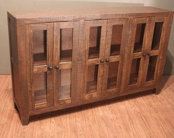 Rustic Solid Wood Mirrored Front Console / China Cabinet /