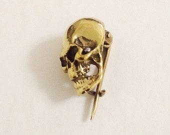 Skull Brass Brooch Pin Antique Solid Brass Jewelry Puck Rock Skull Head Safety Pin Brooch