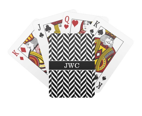 Monogram Black And White Herringbone Playing Cards