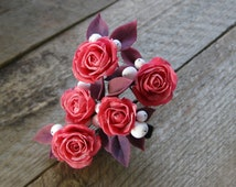 Pink Rose hair flower Winter accessory Snow jewelry Pink rose jewelry Flower hair pin Pink hair accessory Winter jewelry Polymer clay rose