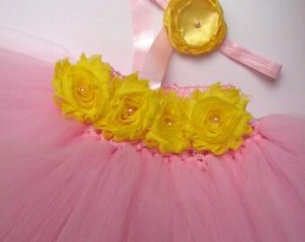 pink and yellow tutu dress, pink yellow baby birthday tutu dress, pink lemonade tutu dress, baby girl birthday tutu, girl birthday dress