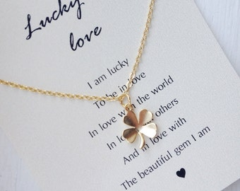 Four Leaf Clover Necklace, gold four leaf clover necklace, clover necklace, lucky necklace, shamrock, meaningful gifts
