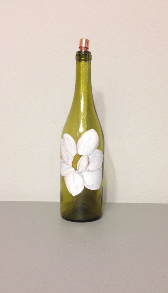 Items similar to wine bottle tiki torch magnolia flower for Outdoor decorating with wine bottles