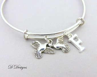 Dove Bangle, Dove Bracelet, Personalised Bangle, Love Birds Bangle, Personalised Love Doves Gifts, Two Doves Jewellery, Dove Gifts