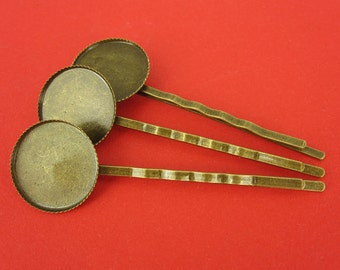 5 bronze hair clips for 18 mm cabochon
