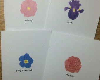 Set of 12 Blank Flower Cards