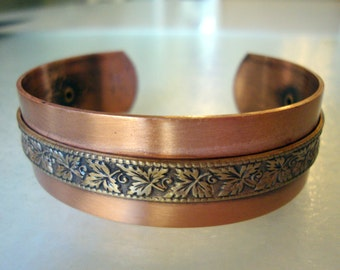 Vintage Solid Copper and Brass, Autumn Leaves Wide Cuff  Bracelet.