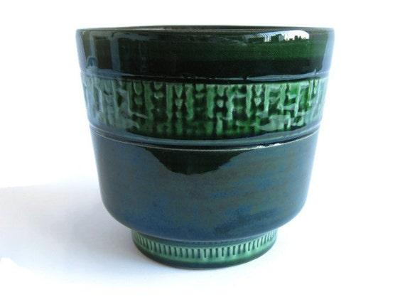 Vintage Green West German Pottery Planter Plant Pot Flower
