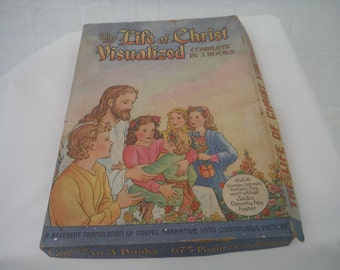 1940's Life of Christ Visualized with Box-Complete set-vintage-Illustrated-Stunning