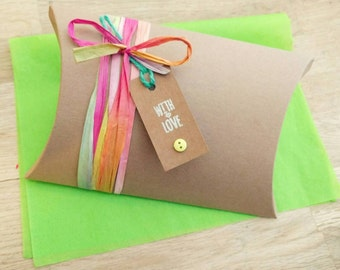 Large pillow gift box - gift box and tag set - bright and fun raffia paper ribbon - any occasion