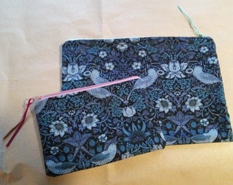 Handmade cotton zippered makeup bag