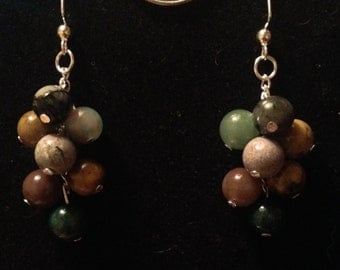 Earthy Touch Cluster Drop Earrings