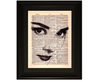 """Hepburn"""".Dictionary Art Print. Vintage Upcycled Antique Book Page. Fits 8""""x10"""" frame"""