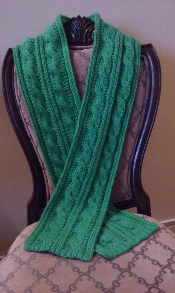 Knitting PATTERN ONLY Irish Double Cable Scarf Reversible