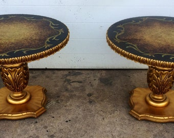 Gold Gilt Hollywood Regency style End Tables
